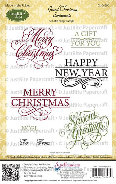 Grand Christmas Sentiments Cling Stamps