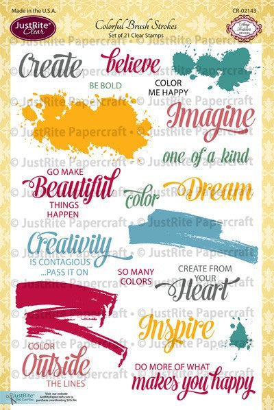 Colorful Brush Strokes Clear Stamps
