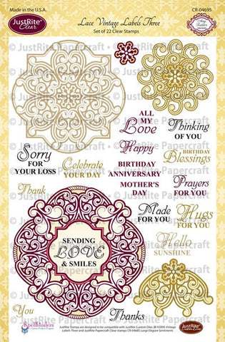 Lace Vintage Labels Three Clear Stamps