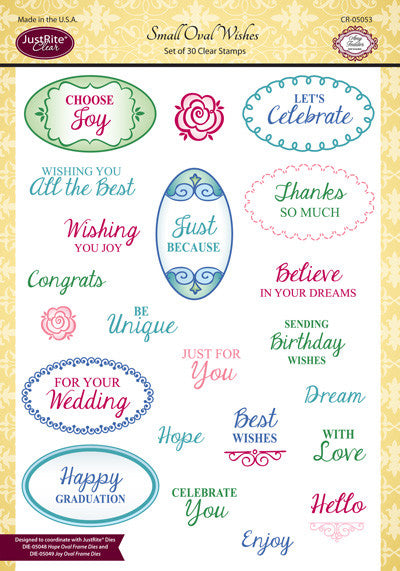 Justrite Small Oval Wishes Clear Stamps