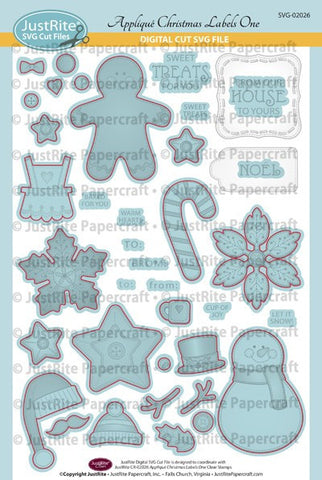 SVG Appliqu̩ Christmas Labels One Cut File Digital Download for CR-02026