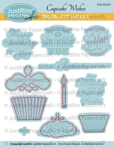 SVG Cupcake Wishes Digital Cut Download for CL-02033