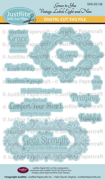 SVG Grace to You Vintage Labels Eight and Nine Digital Cut File Download for CR-02126