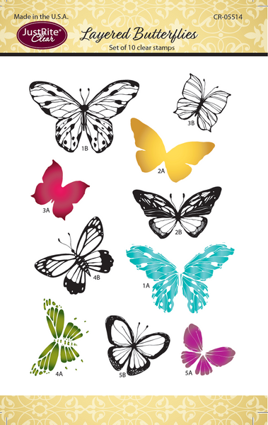 JustRite Layered Butterflies Clear Stamp