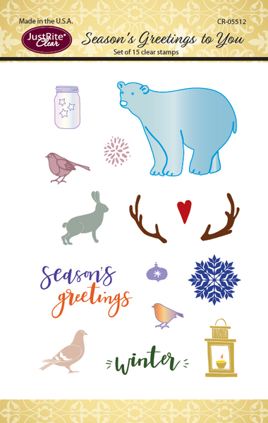JustRite Season's Greetings to You Clear Stamp