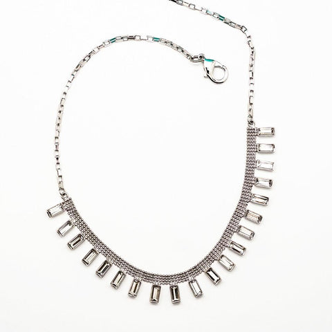 Diamond Rhinestone Baguette Necklace - 18 Inches