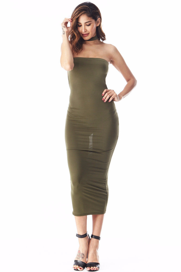 Tiffany Olive Tube Midi Small, Dresses/Rompers - Fashion Trend LA, Fashion Trend LA  - 1