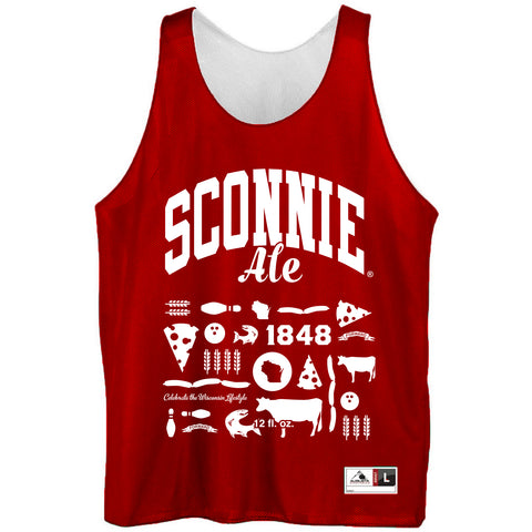 Sconnie Ale Unisex Reversible Mesh Jersey Tank Top - Red