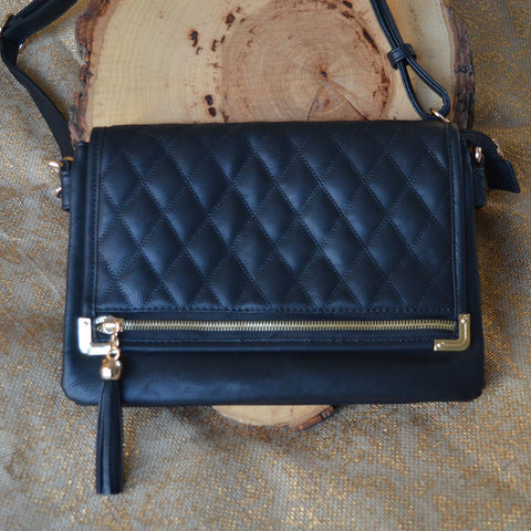 Black Quilted Messenger