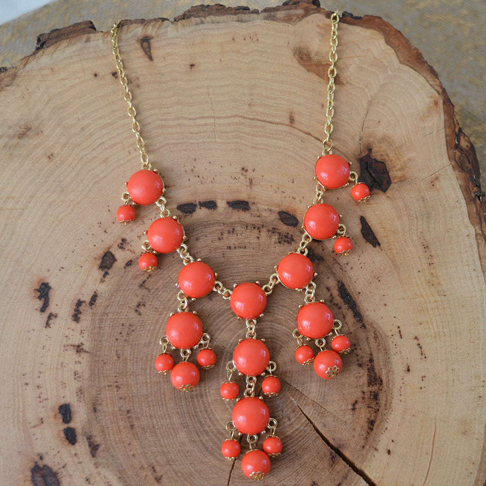 Coral Beaded Statement Necklace