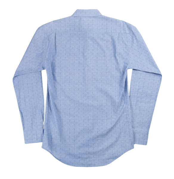 Slim Button Down - Blue Dobby