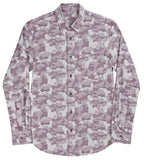 Camo Jacquard Button Down Shirt - Maroon
