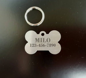 Pet ID Tag Dog tag Stainless Steel Laser Engraved  Small Bone