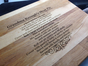 Laser Engraved Cutting Boards Favourite Recipe