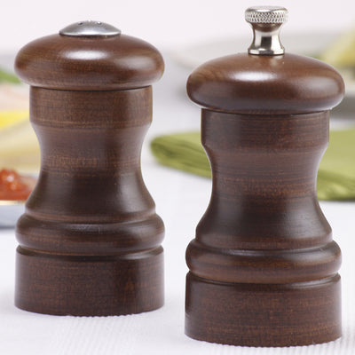 04100 4 Inch Capstan Pepper Mill & Salt Shaker Set, Walnut, Table View