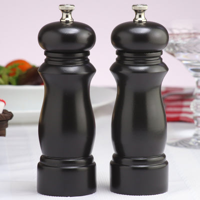 06302 6 Inch Pepper Mill & Salt Mill Set, Ebony, Table View