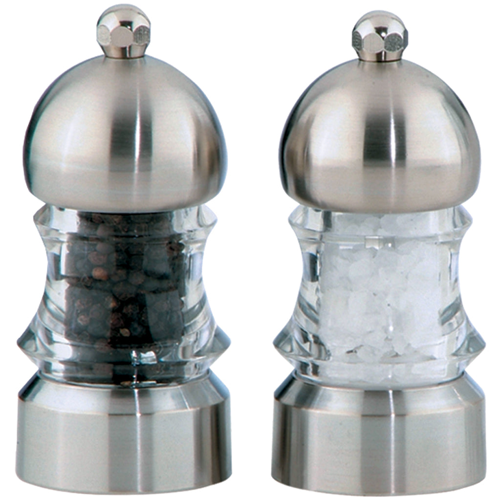 3.5 Inch Metro Acrylic Pepper Mill and Salt Mill Set with Brushed Stainless Accents 01572