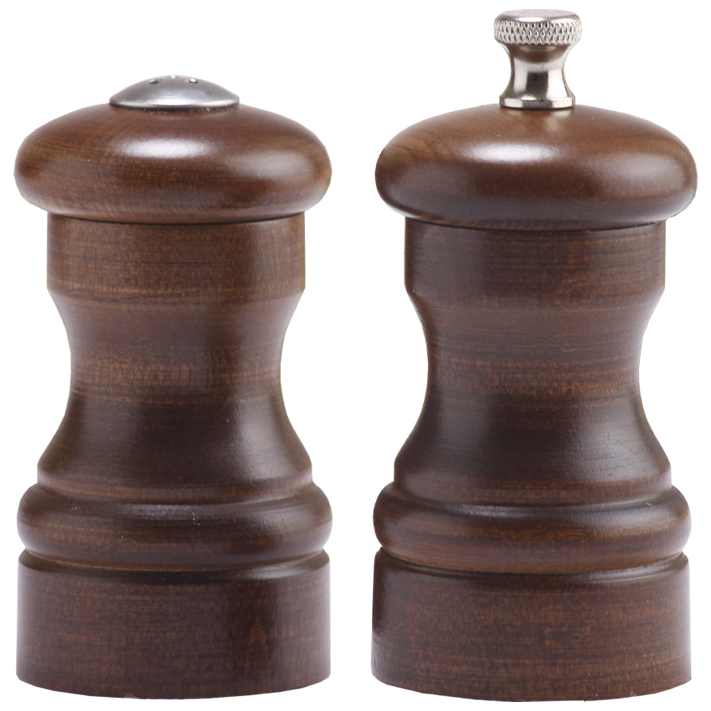 4 Inch Capstan Pepper Mill and Salt Shaker Set with Walnut Finish