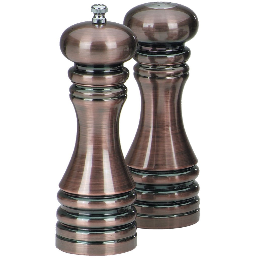 7 Inch Acrylic Pepper Mill and Salt Shaker Set with Burnished Copper Finish 90070