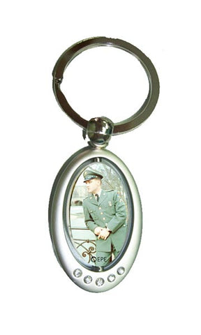 Elvis Key Chain Oval Spinner Army