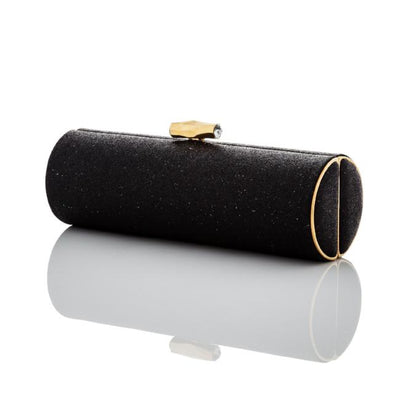 Bow: Black Micro-Sparkle Roll Clutch