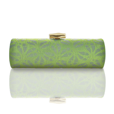 Zafira: Green & Slate Weave Roll Clutch