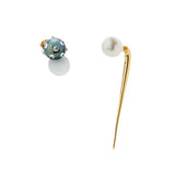 Quill Spike with 8mm White Pearl Earring - Gold - AMANDA PEARL