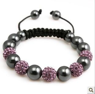 Pink and Gray Shamballa Bracelet