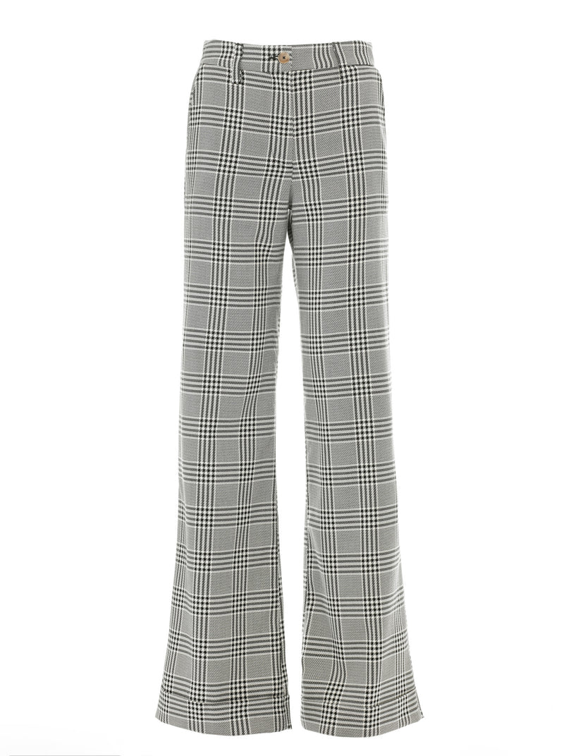 Anna Wide Leg Plaid Trouser in Black and White