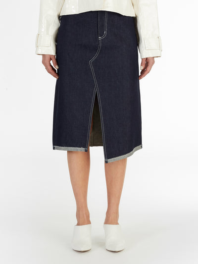 Asymmetric Reverse Hem Midi Skirt in Dark Indigo Raw Italian Denim