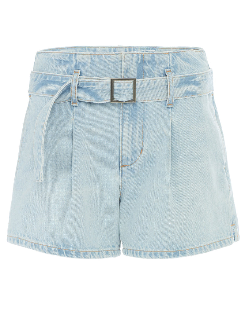 Belted Short in Rigid Light Wash Italian Denim