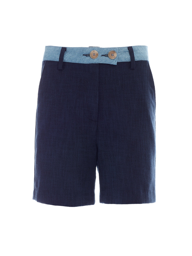 Brit Cotton Blend Short in Navy