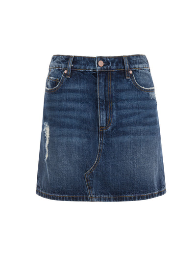 Mini Skirt in Distressed Dark Wash
