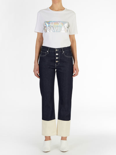 Multi Colored Straight Jeans in Raw Italian Denim