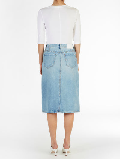 Pencil Midi Skirt in Light Wash Italian Denim