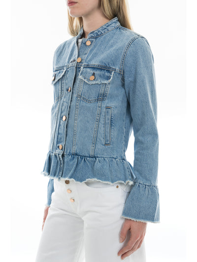 Ruffle Trimmed Denim Jacket in Light Wash