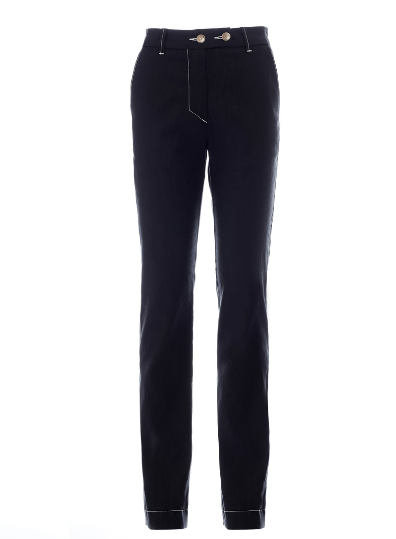 Victoria Slim Straight Leg Trouser in Black with Contrast Stitching