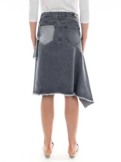 Zip Front Asymmetric Denim Skirt in Light Black Wash
