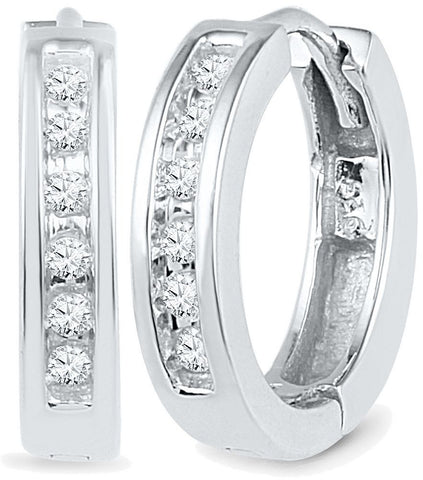 1/8CTW DIAMOND HOOP EARRINGS