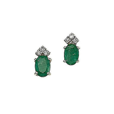 Diamond and Emerald 14kt Yellow Gold Earrings 1.60ct TW