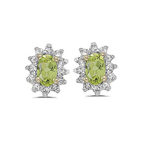 14kt Yellow Gold Diamond and Peridot Earrings 0.75ct TW