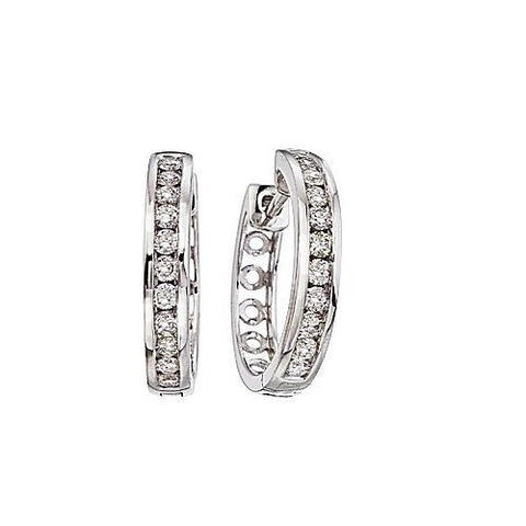 14kt White Gold 0.75ct Diamond Hoop Earrings