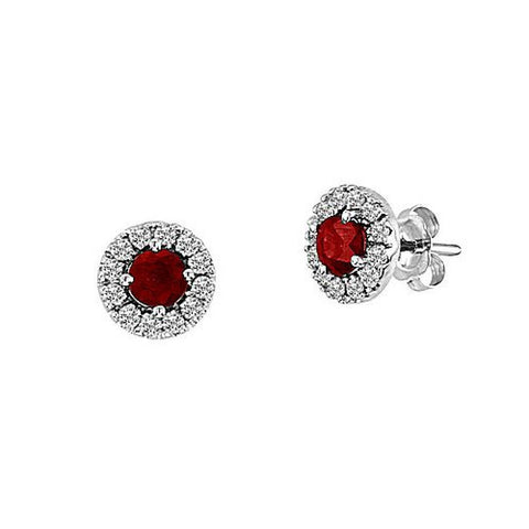 Ruby and Diamond Halo Earrings set in 14k Gold