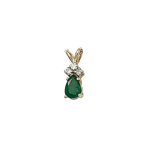 14kt Gold, Emerald and Diamond Pendant 0.45ct TW