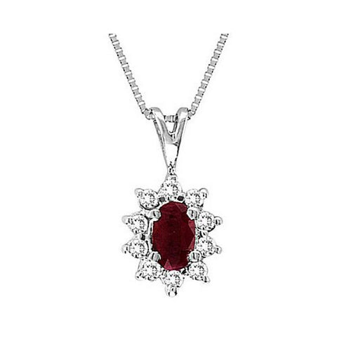 14kt Gold Diamond and Ruby Pendant 0.48ct TW