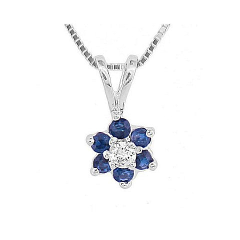 Sapphire and Diamond Flower Cluster Pendant in14k Gold