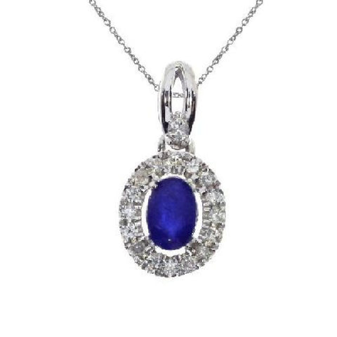 14kt White Gold Oval Sapphire and Diamond Halo Pendant