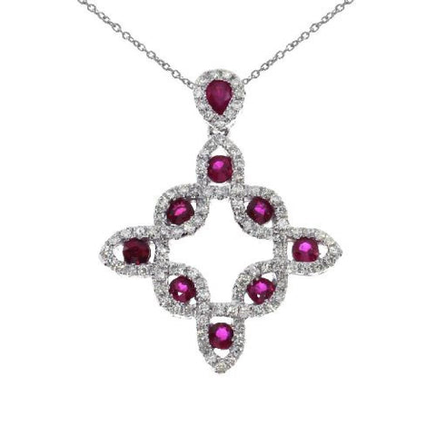 14kt White Gold Ruby and Diamond Fashion Pendant 0.79ct TW