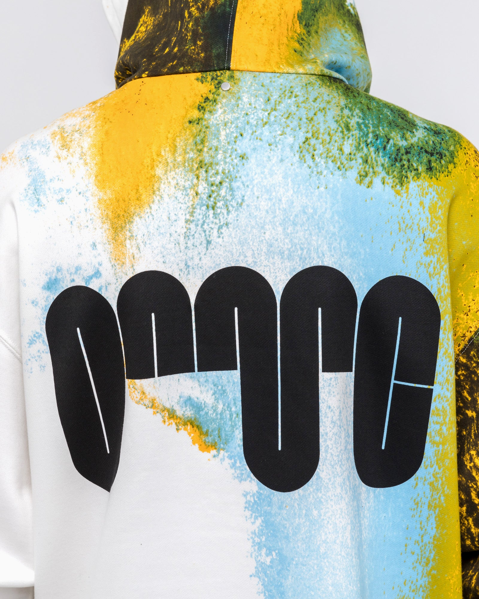 Watercolour Hoodie in White & Yellow
