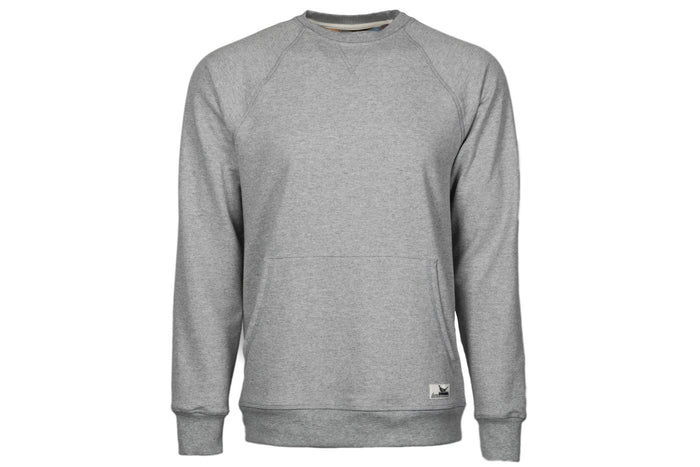 Men's Ash Grey Pocket Crew Sweatshirt